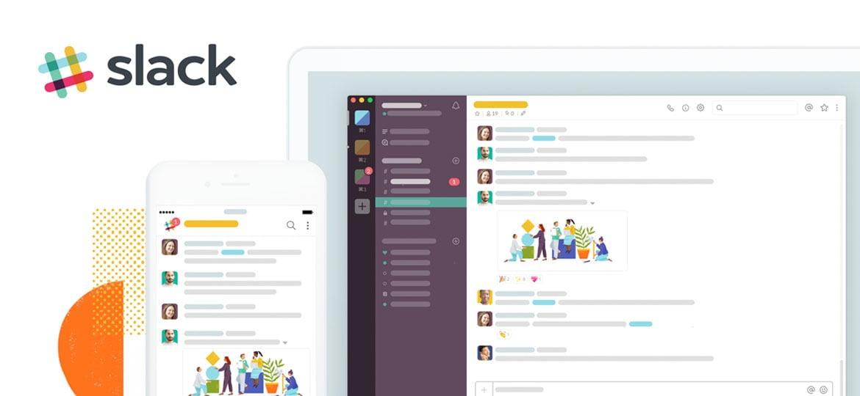 Celular e computador mostarndo o Slack funcionando