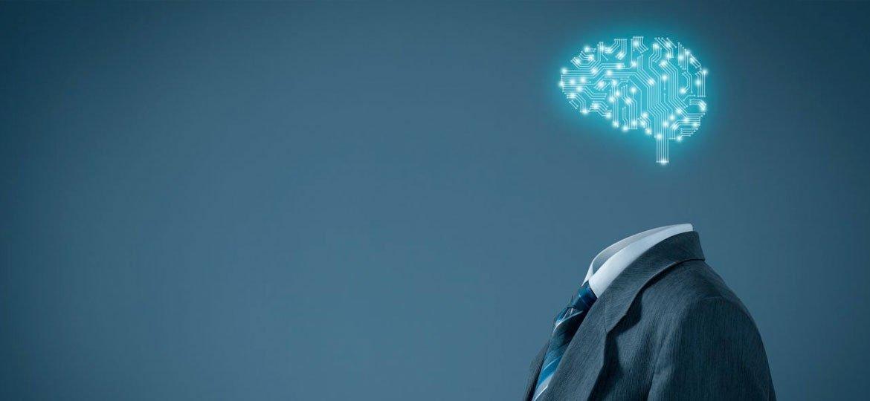 Desenho de um cérebro em forma de circuito flutuando sobre um terno simbolizando inteligência artificial
