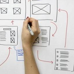 Mulher desenhando um esquema de UX