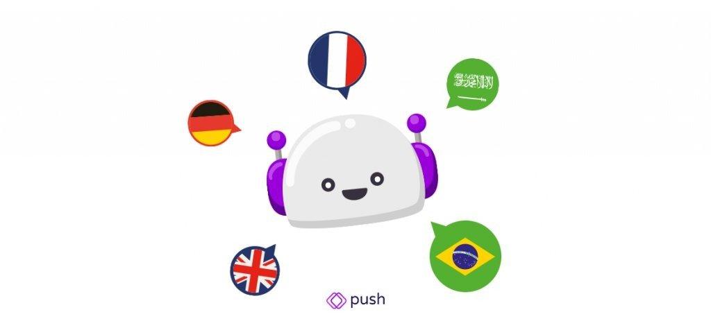 Desenho de um robô cercado com balões de fala com bandeiras de diversos países