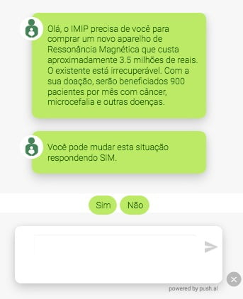 Exemplo do Push chatbot do IMIP