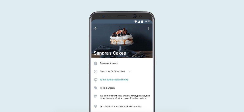 Smartphone mostrando perfil de negócio no WhatsApp Business