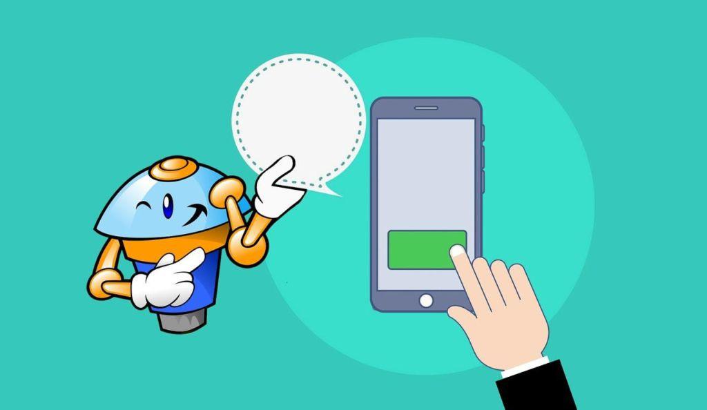 ilustração de chat bot e celular